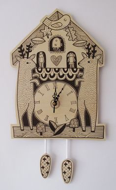 cuckoo clock by @Kat Ellis Sutton on Etsy, £40.00 #cuckoo #clock #illustration #deer #bird #woodland