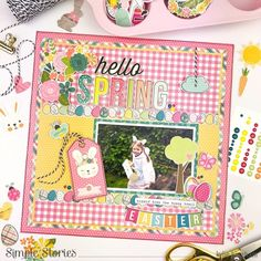 Trendy gingham, checks and plaid patterned papers all mix together beautifully on this sweet Easter layout from Kylie. She mirrored those patterns in her title and the borders of eggs, a bunny tag and a banner add some fun whimsy & Read More. Halloween Mini Albums, Halloween Fun, Simple Stories Snap, Cute Planner, Holiday Themes, Scrapbook Embellishments, Hello Spring, Card Maker, Some Fun