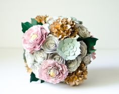 Vintage mint, pink, gold bouquet made from books. Flowers include peonies, roses, succulents, hydrangeas, as well as maple leaves. Fully customized by AnthologyOnMain