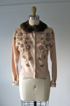 vintage 1950s bead, sequins and mink collar cardigan wool sweater