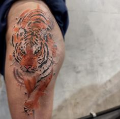 Watercolor tiger tattoo by Felipe Mello
