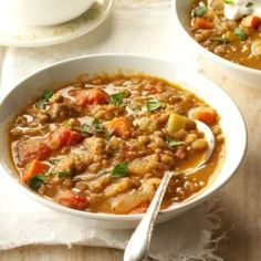 This is a nice warming soup on a chilly day. Lentils are so good for you, too! —Mary Smith, Columbia, Missouri Best Vegetable Soup Recipe, Hearty Vegetable Soup, Lentil Soup Recipes, Veggie Soup, Zucchini Soup, Turkey Soup, Turkey Sausage, Sausage Soup, Turkey Dishes