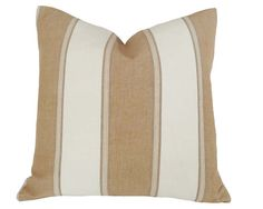 Tan and White Striped Coastal Pillow for Spring Summer 2014 by PillowThrowDecor