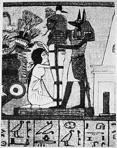 """""""The Cult of Isis""""  Isis blowing life into Orsiris: Set kills Osiris and cuts up his body and spreads it all over Egypt. Isis, Nephthys and Anubis searched Egypt and retrieve all of the pieces except one - Osiris' phallus. Set had dropped the penis into the Nile (making it fertile), where it was eaten by a fish. The god and goddesses pieced Osiris together (they had to make a penis out of clay) and created the first mummy allowing him to posthumously conceive a son with Isis"""