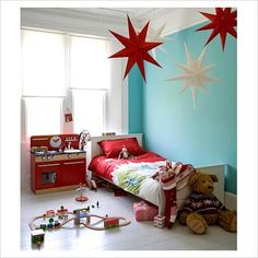 Simple, fun, colourful and not expensive...perfect. (and all little boys need kitchens to play in)