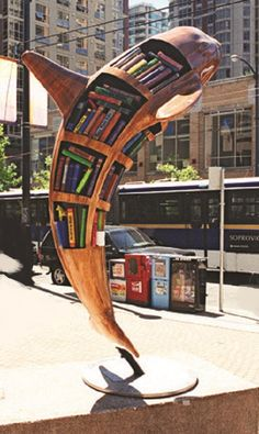 """Vancouver, British Columbia, Canada - Orcas in the City 2004 - """"Whale Tales"""" - 70 fiberglass orca statues, 9 feet high. When you travel, find a theme and """"collect"""" the photos. Like a create little library. Little Free Libraries, Little Library, Vancouver, Street Library, Book Sculpture, Sculptures, Statues, Outdoor Art, Book Nooks"""