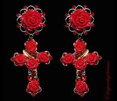 ALESSA - Red Rose Dolce Bizantine Crosses Earrings