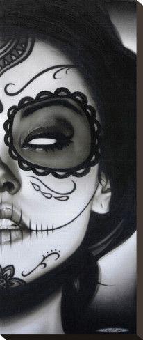 Sophia la Muerta by Daniel Esparza Day of Dead Girl Canvas Art Print Soirée Halloween, Halloween Face Makeup, Vintage Halloween, Halloween Costumes, Helloween Make Up, Los Muertos Tattoo, Candy Skulls, Sugar Skulls, Sugar Skull Girl