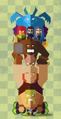 """Totem desenvolvido baseado em personagens do jogo mobile """"Clash of Cans""""."""