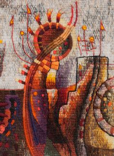 Detail of Miniature Contemporary Tapestry by Peruvian Weaver Maximo Laura | Hand Woven with Alpaca