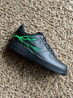 Green lightning by phick. Nike Air Shoes, Sneakers Nike, Lil Uzi Vert Style, Custom Jordans, Custom Shoes, Rage, Nike Air Force, Sneakers Fashion, Nike Men