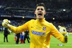 Atletico Madrid's Belgian goalkeeper Thibaut Courtois celebrates after winning the Spanish King's Cup (Copa del Rey) final football match Real Madrid vs Atletico de Madrid at Santiago Bernabeu stadium in Madrid on May 18, 2013. Atletico Madrid won the match 2-1
