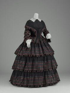 Vestido dia, cerca de 1855 dos Estados Unidos, AMF Boston