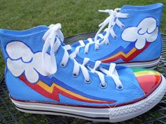 ANY SIZE Any Character My Little Pony Cutie Mark Custom Painted  Shoes Rainbow Dash Dr Whooves Pinkie Pie