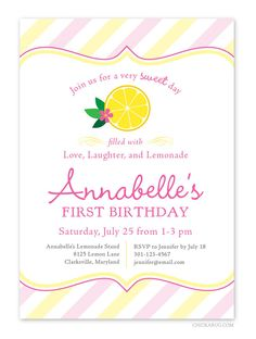 Pink Lemonade party - Set of 15 custom invitations - Printable file also available. $30,00, via Etsy.