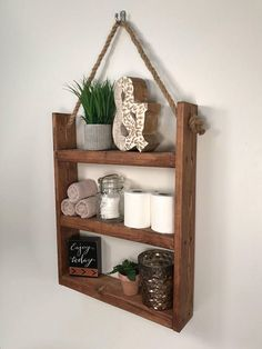 Rustic Ladder Shelf- Rustic Wood and Rope Ladder Shelf, Bathroom Organizer, Entryway Shelf - This handmade hanging rope & ladder shelf will make a statement in any home with its rustic yet mod - Rustic Bathroom Shelves, Entryway Shelf, Bathroom Storage Shelves, Bathroom Organisation, Wall Storage, Storage Ideas, Storage Solutions, Ladder Storage, Shelf Ideas