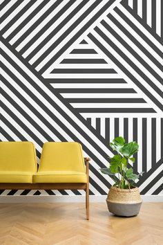Create a show stopping space with the Divert Striped Geometric Wall Mural. This bold design using geometric shapes will transform any room and create something that will have a spectacular impact on all who see it. #dazzlecamo #dazzledesign #interiordecor #home #wallpaper #mural #striped #geometric #monochrome #modernist
