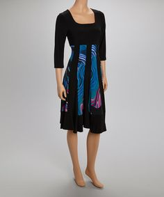 Look what I found on #zulily! Black & Blue Abstract Panel Long-Sleeve Dress by Quiz #zulilyfinds