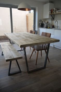 John Lewis Calia Style Industrial Reclaimed Plank Top Dining Table V-Frame Steel Base (Handmade UK)