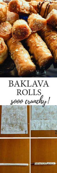 These mini ruffled Baklava rolls are so easy to make and soo deliciously crunchy! #Greek #Baklava Chocolate Baklava, Bakers Chocolate, Greek Desserts, Greek Recipes, Sweet Cookies, Sweet Treats, Greek Baklava, Pistachio Baklava, Food Collage