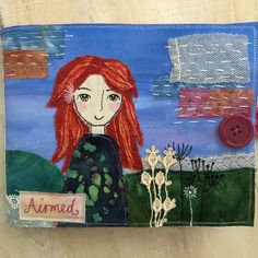 Handmade and designed by Carinne Meyerink Fabric Journals, Textile Art, Disney Characters, Fictional Characters, Textiles, Disney Princess, Handmade, Design, Craft