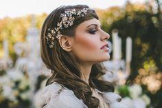 Bohemian Romance . Headpiece by Bride la Boheme , Photography by Julia Trotti
