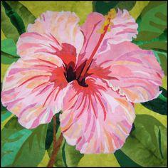 Hibiscus by Melinda Bula | flower art quilt, workshop