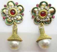 Majestic pearl and  red stone Gold Tone ethnic earrings