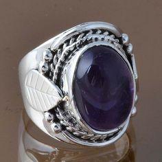 925 STERLING SILVER AMETHYST FANCY RING 8.0g DJR8298 SZ-5.85 #Handmade #Ring