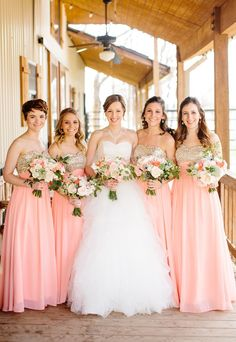 pink + gold bridesmaid dresses | Tucker Images #wedding