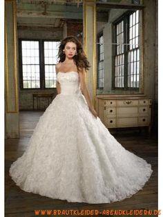 Plissiertes luxuriös Brautkleid aus Satin Bodenlang A-Linie Trägerlos