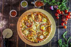 Pizza Restaurant, Paella, Mozzarella, Vegetable Pizza, Quiche, Bacon, Vegetables, Breakfast, Ethnic Recipes