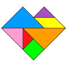 Tangram Heart - Tangram solution 60 - Providing teachers and pupils with tangram puzzle activities Math Worksheets, Math Activities, Operation Christmas Child Boxes, Origami, Tangram Puzzles, Thematic Units, Pattern Blocks, Printables, Teacher