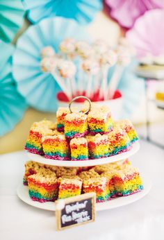rainbow-rice-krispie-treats, would be cute for St. Paricks day!!!  Put some gold wrapped Hershey kisses at the bottom for the pot of gold!!