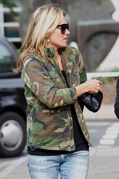 Kate Moss, nice camouflage print jacket