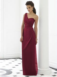 long, one-strap bridesmaid dress...they have it in orange too