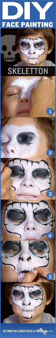 how to do skeleton face painting for kids halloweencostumes diy Skeleton Face Paint, Skull Face Paint, Skull Painting, Body Painting, Feliz Halloween, Halloween Make Up, Halloween Face, Halloween Costumes, Diy Face Paint