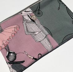SALE The Ghastlies Zipper Pouch: Patchwork with Skeletons on Penny Farthings.