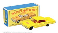 "Matchbox Regular Wheels No.20c Chevrolet Impala Taxi. In 1969 this model was packaged in ""E"" box."