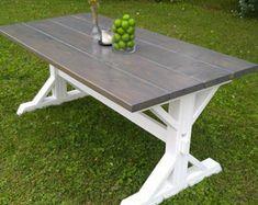 Gray Farm House Table, Farm House Trestle Table, Dine Room Table, Dining Table