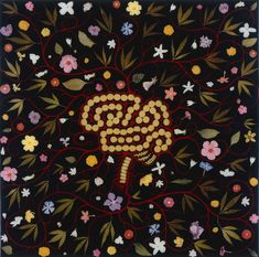 "Fred Tomaselli, ""Brain With Flowers,"" 1990-97, mixed media, 24 x 24 in."