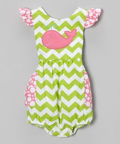 Another great find on #zulily! Green Zigzag Whale Bubble Bodysuit - Infant by BeMine #zulilyfinds