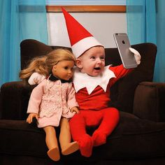 "The elf told me that he needed to borrow my phone to make an emergency call to Santa. When I got my phone back I noticed there were no outgoing calls but my camera roll was loaded with selfies (which he referred to as ""elfies""). #rocktheelf #elfontheshelf #elfies"