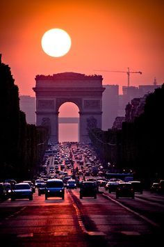 sunset over the Arc de Triumph, Paris
