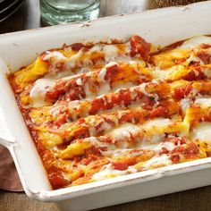 Cheese & Pumpkin-Filled Manicotti Recipe -Our family adores autumn and anything to do with pumpkins! This warm, comforting recipe is so easy to put together on a cool fall weeknight. When I have time, I make homemade ravioli and tortellini using this same filling. It also works well in stuffed shells. —Mandy Howison, Renfrew, Pennsylvania