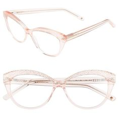 kate spade new york 'zabrina' 52mm reading glasses (6.055 RUB) ❤ liked on Polyvore featuring accessories, eyewear, eyeglasses, transparent pink glitter, reading eye glasses, pink reading glasses, cat-eye glasses, lightweight eyeglasses and retro cat eye glasses
