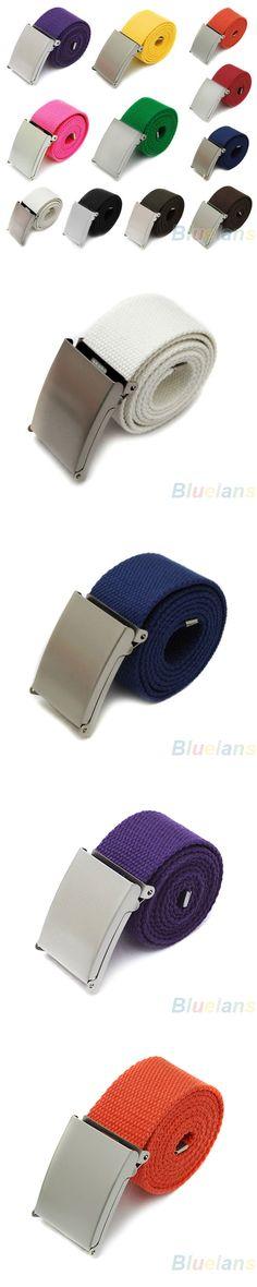NEW Candy Colors Men Women Boys Plain Webbing Cotton Canvas Metal Buckle Belt Fashion Accessories Retail/Wholesale  59A1 6R2O