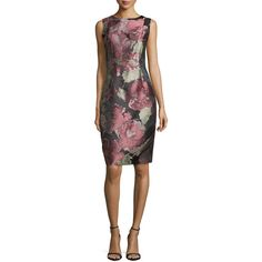 Carmen Marc Valvo Sleeveless Floral-Print Cocktail Dress ($208) ❤ liked on Polyvore featuring dresses, dogwood, sheath dress, floral dresses, back zipper dress, sleeveless dress and sleeveless cocktail dress