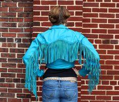 1980s Electric Blue Fringe Leather Jacket by PINKCHAMPAGNEFASHION, $138.99