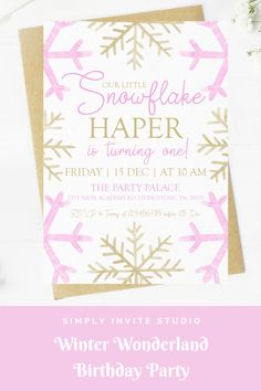This Winter Wonderland Snowflake Birthday Invite is perfect for a little girls' birthday party. This easy to edit birthday party invitation will be a great addition to your little one's Winter Wonderland Snowflake Birthday Party Theme. Pink Gold Birthday, Girl Birthday, Birthday Party Invitations, Birthday Party Themes, Winter Wonderland Birthday, Birthday Template, Winter Onederland, Winter Theme, Pink And Gold